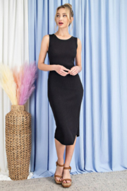 eesome Ribbed Knit Fitted Dress - Product Mini Image
