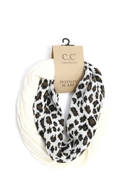 CC Beanie Ribbed Knit Leopard Infinity Scarf - Product Mini Image