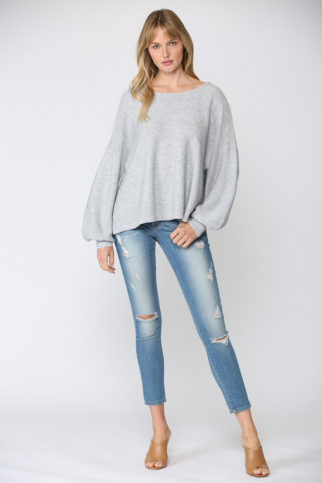 Fate Ribbed Knit Oversized Dolman Sweater - Main Image