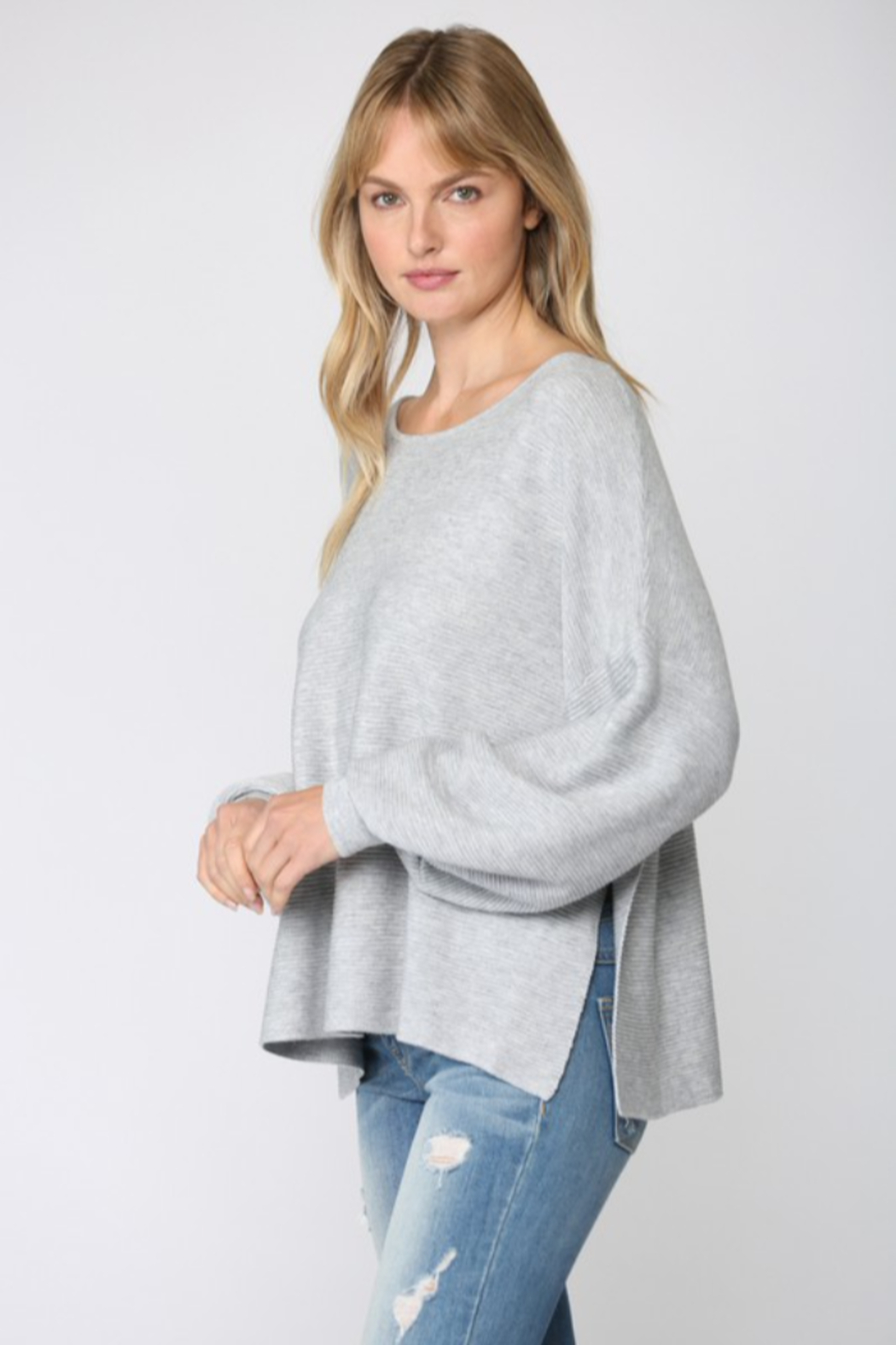 Fate Ribbed Knit Oversized Dolman Sweater - Back Cropped Image