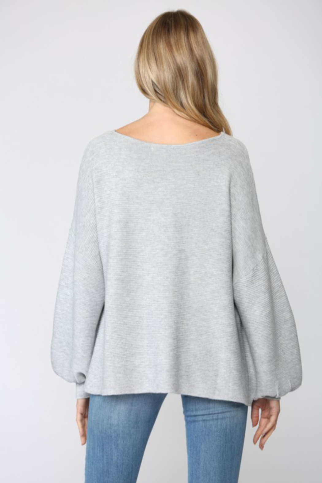 Fate Ribbed Knit Oversized Dolman Sweater - Side Cropped Image