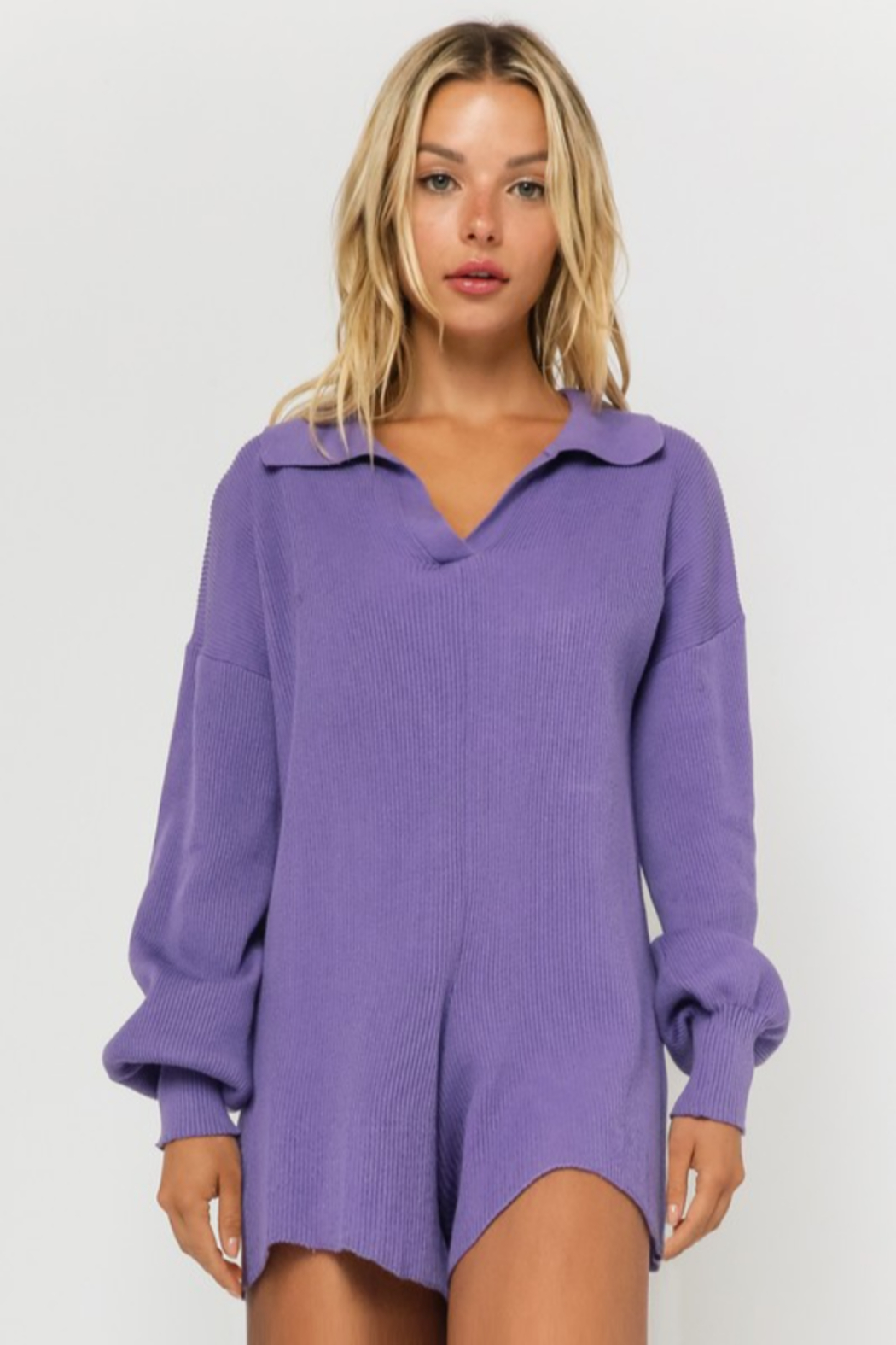 Olivaceous  Ribbed Knit Romper - Main Image