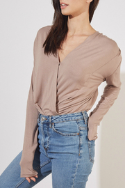 Mustard Seed  RIBBED KNIT SURPLICE BODYSUIT - Front full body