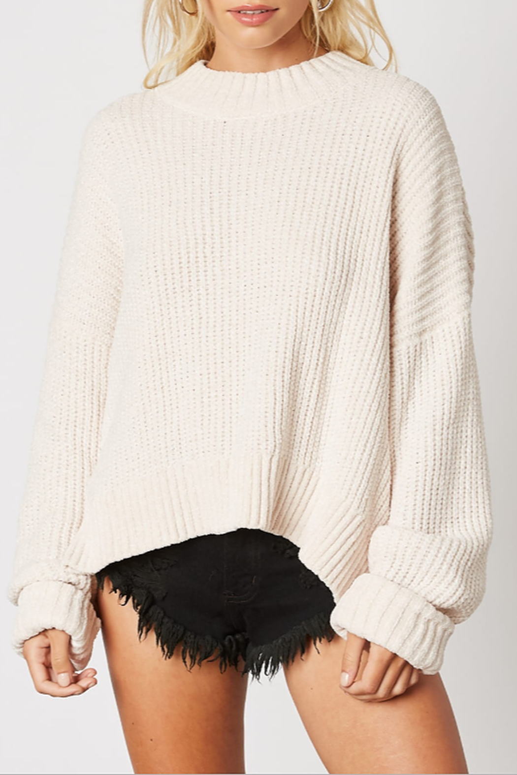 Cotton Candy Ribbed Knit Sweater - Main Image