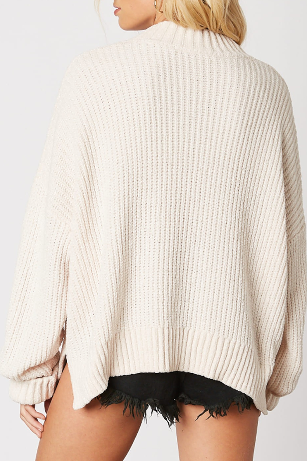 Cotton Candy Ribbed Knit Sweater - Front Full Image