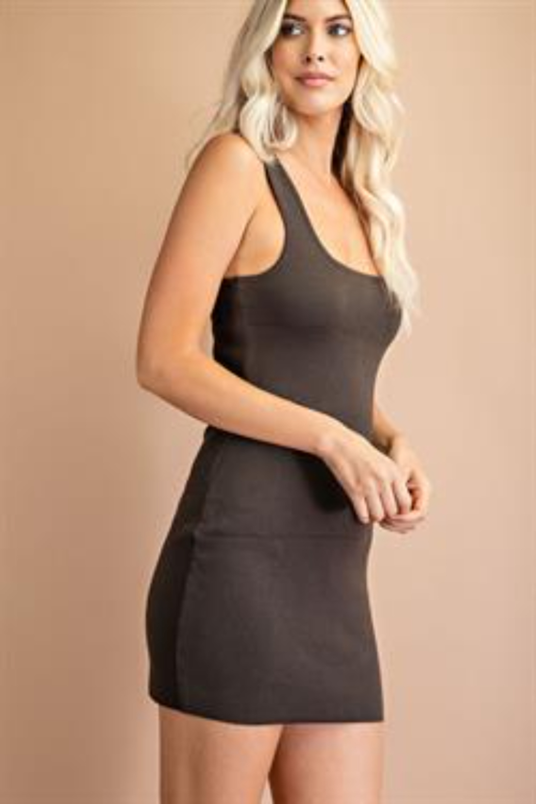 Glam Ribbed Knit Tank Dress - Front Cropped Image