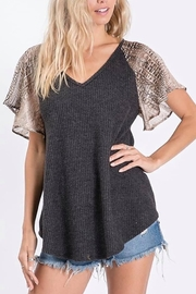Ces Femme  Ribbed Knit Top with Snake Print Sleeves - Product Mini Image