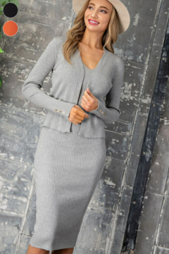 eesome Ribbed Knit V-Neck Midi Dress - Product List Image