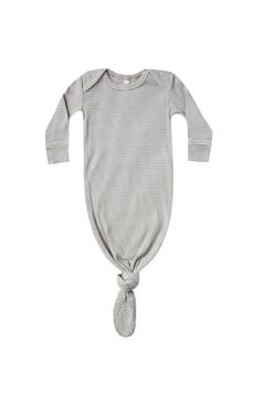 Quincy Mae Ribbed Knotted Baby Gown - Eucalyptus Stripe - Alternate List Image