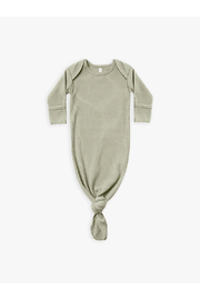 Quincy Mae Ribbed Knotted Baby Gown - Sage - Product Mini Image
