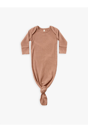 Quincy Mae Ribbed Knotted Baby Gown - Terracotta - Product Mini Image