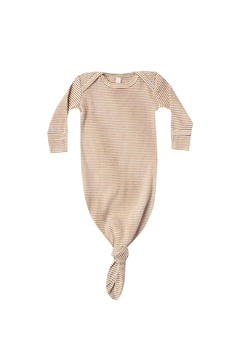 Quincy Mae Ribbed Knotted Baby Gown - Walnut Stripe - Alternate List Image