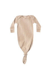 Quincy Mae Ribbed Knotted Baby Gown - Walnut Stripe - Product Mini Image