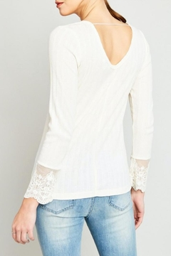 Hayden Los Angeles Ribbed Lace-Sleeve Top - Alternate List Image