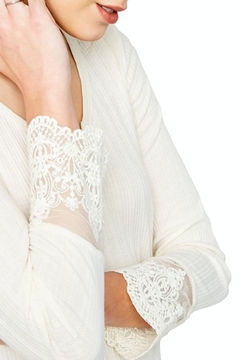 Hayden Los Angeles Ribbed Lace-Sleeve Top - Product List Image