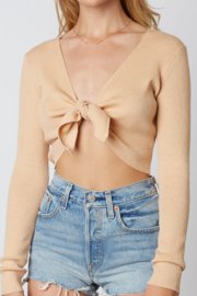 Cotton Candy  Ribbed Long Sleeve Tie Crop - Product Mini Image