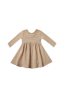 Shoptiques Product: Ribbed Longsleeve Dress - Walnut Stripe