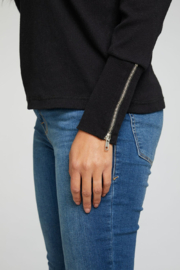 Chaser Ribbed Mock Neck with Zipper Details - Back cropped