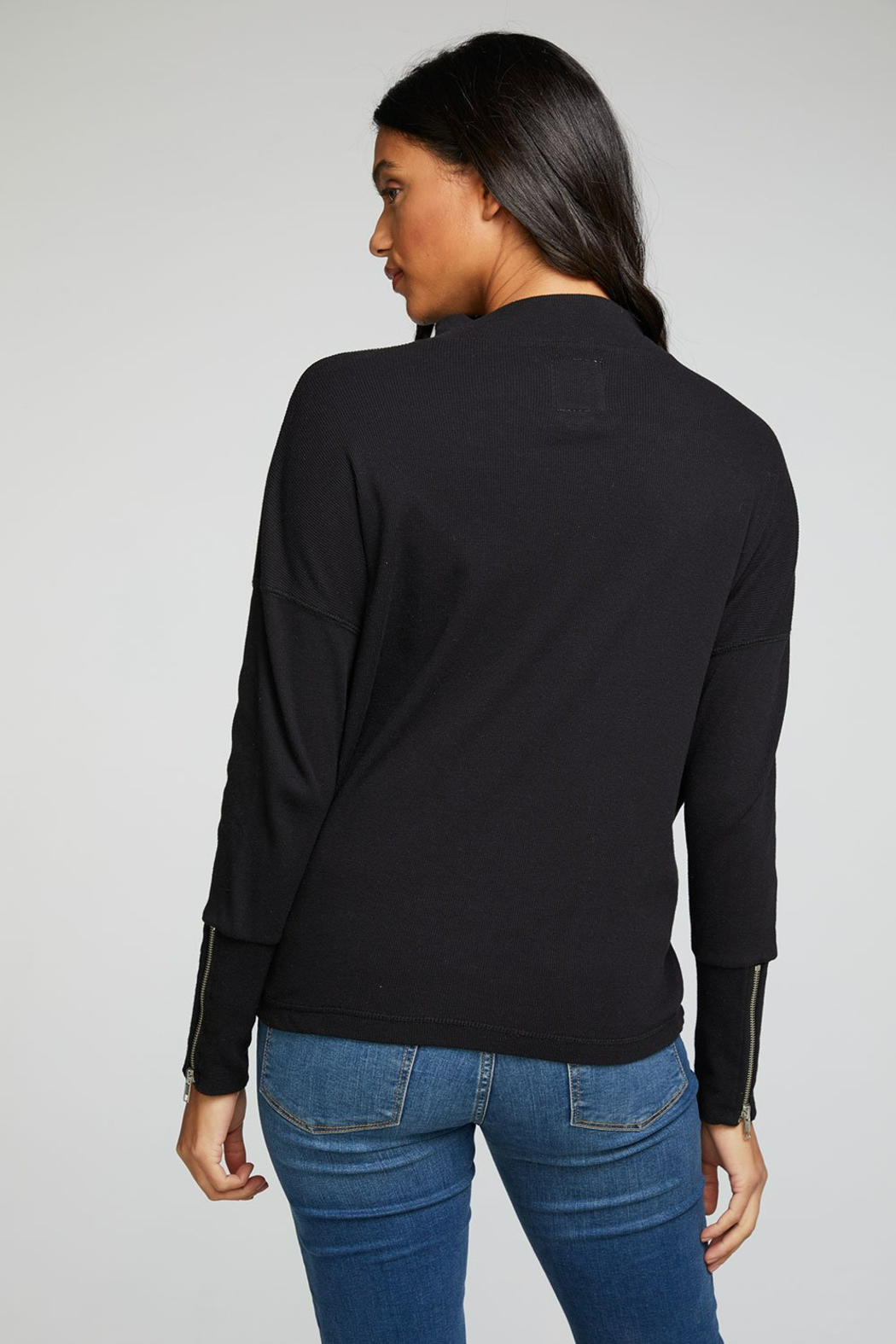 Chaser Ribbed Mock Neck with Zipper Details - Side Cropped Image