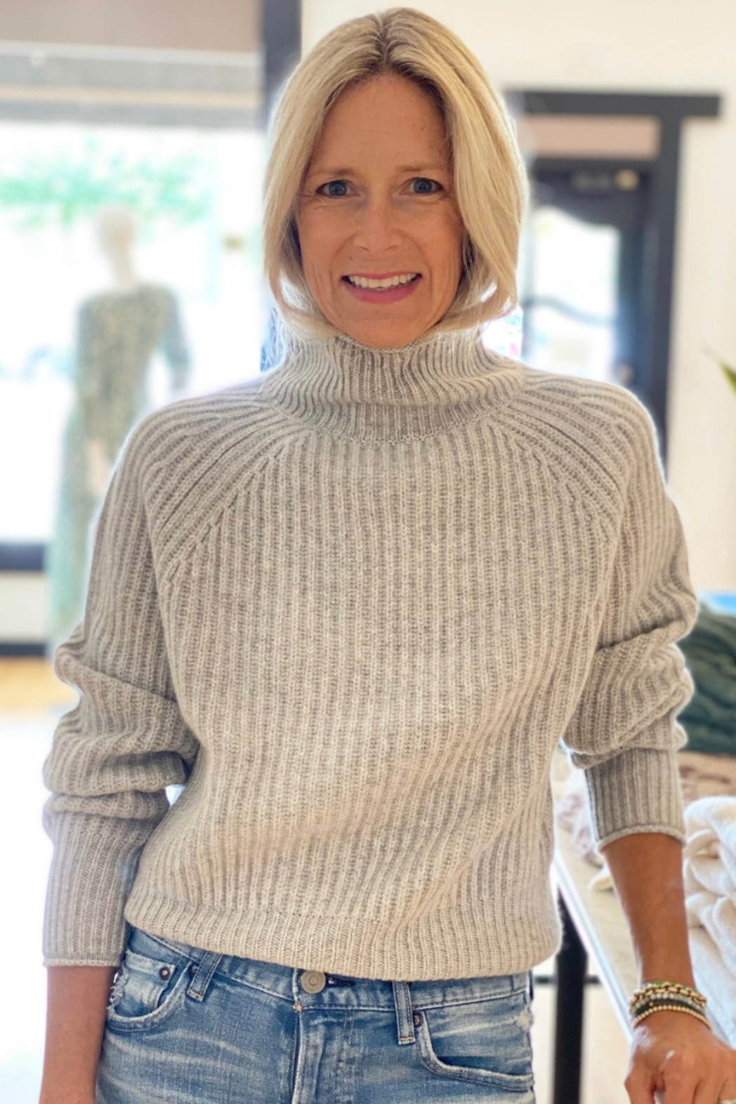 Allude Ribbed Mockneck Sweater - Main Image