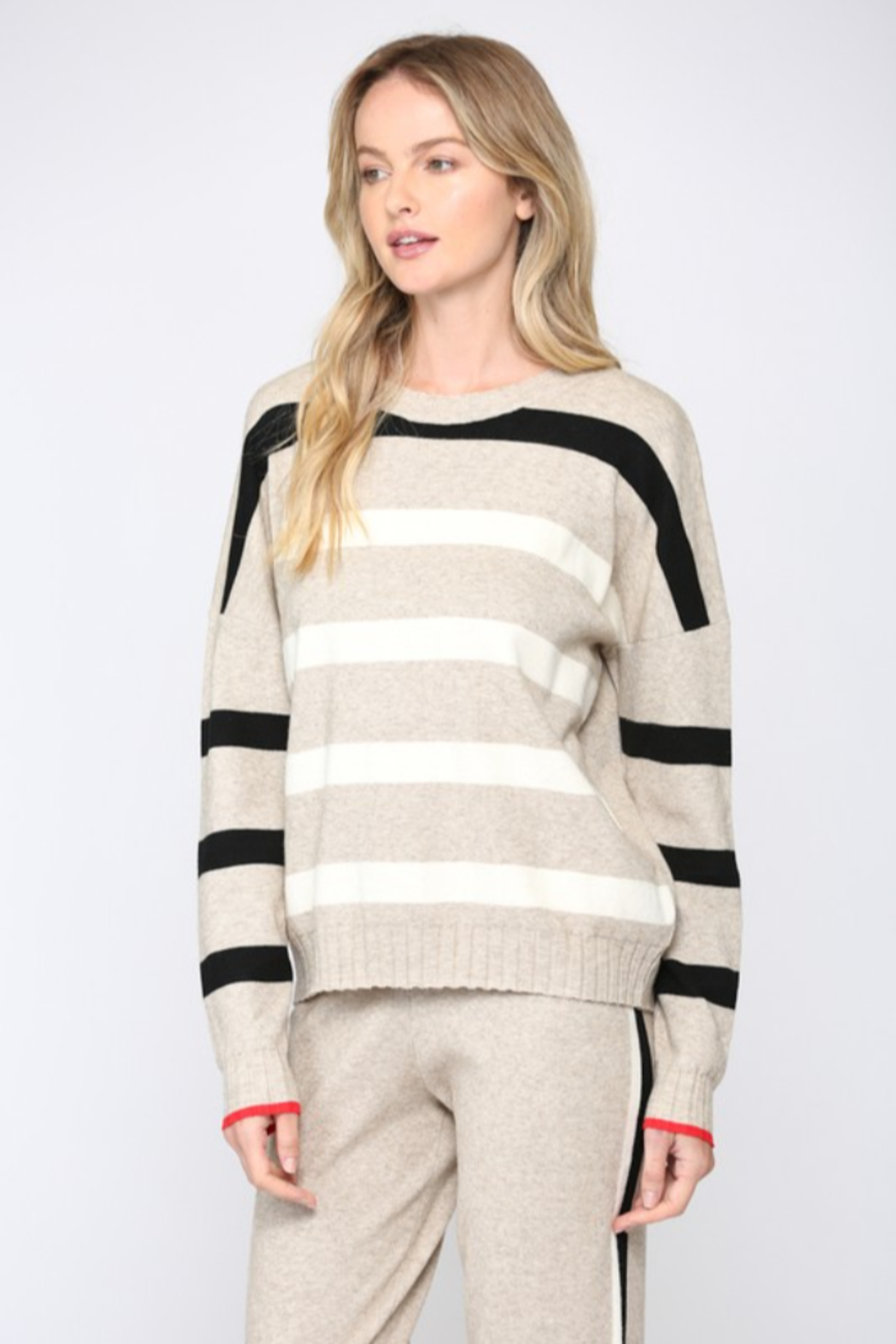 Fate  Ribbed Oatmeal Striped Sweater - Side Cropped Image