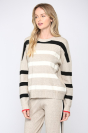 Fate  Ribbed Oatmeal Striped Sweater - Side cropped