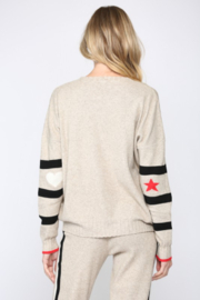 Fate  Ribbed Oatmeal Striped Sweater - Front cropped