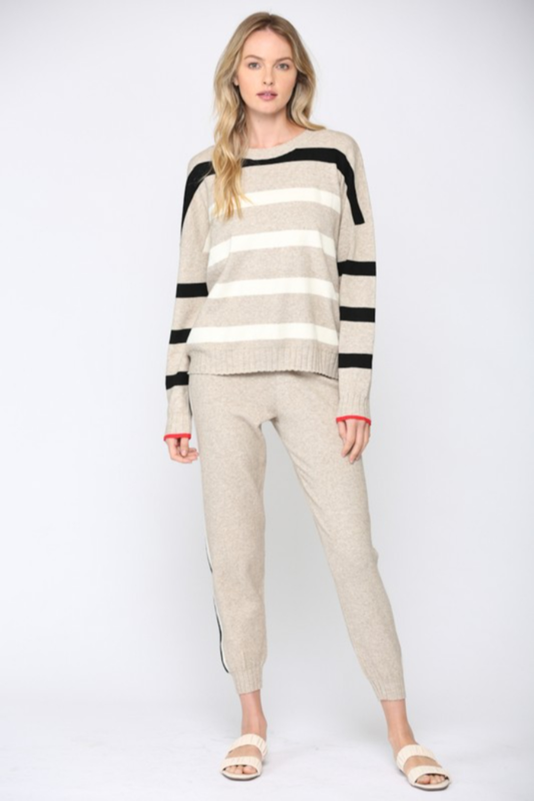Fate  Ribbed Oatmeal Striped Sweater - Front Full Image