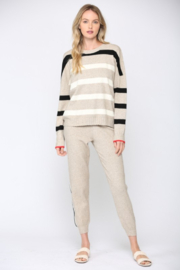 Fate  Ribbed Oatmeal Striped Sweater - Front full body