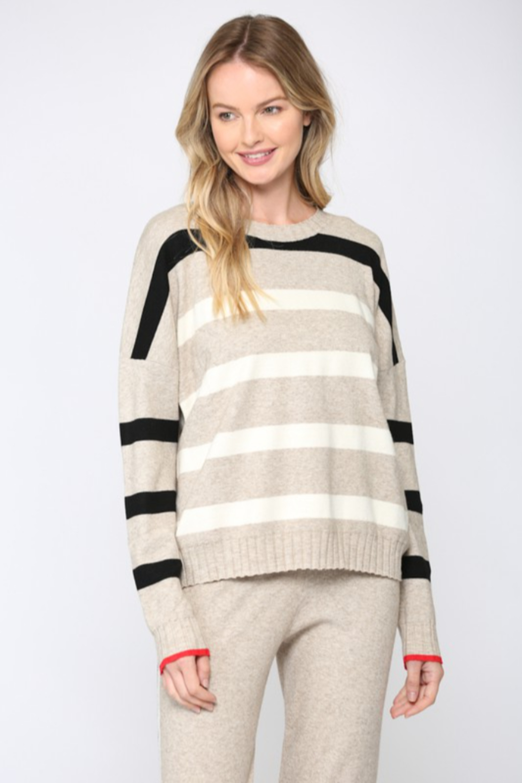 Fate  Ribbed Oatmeal Striped Sweater - Back Cropped Image