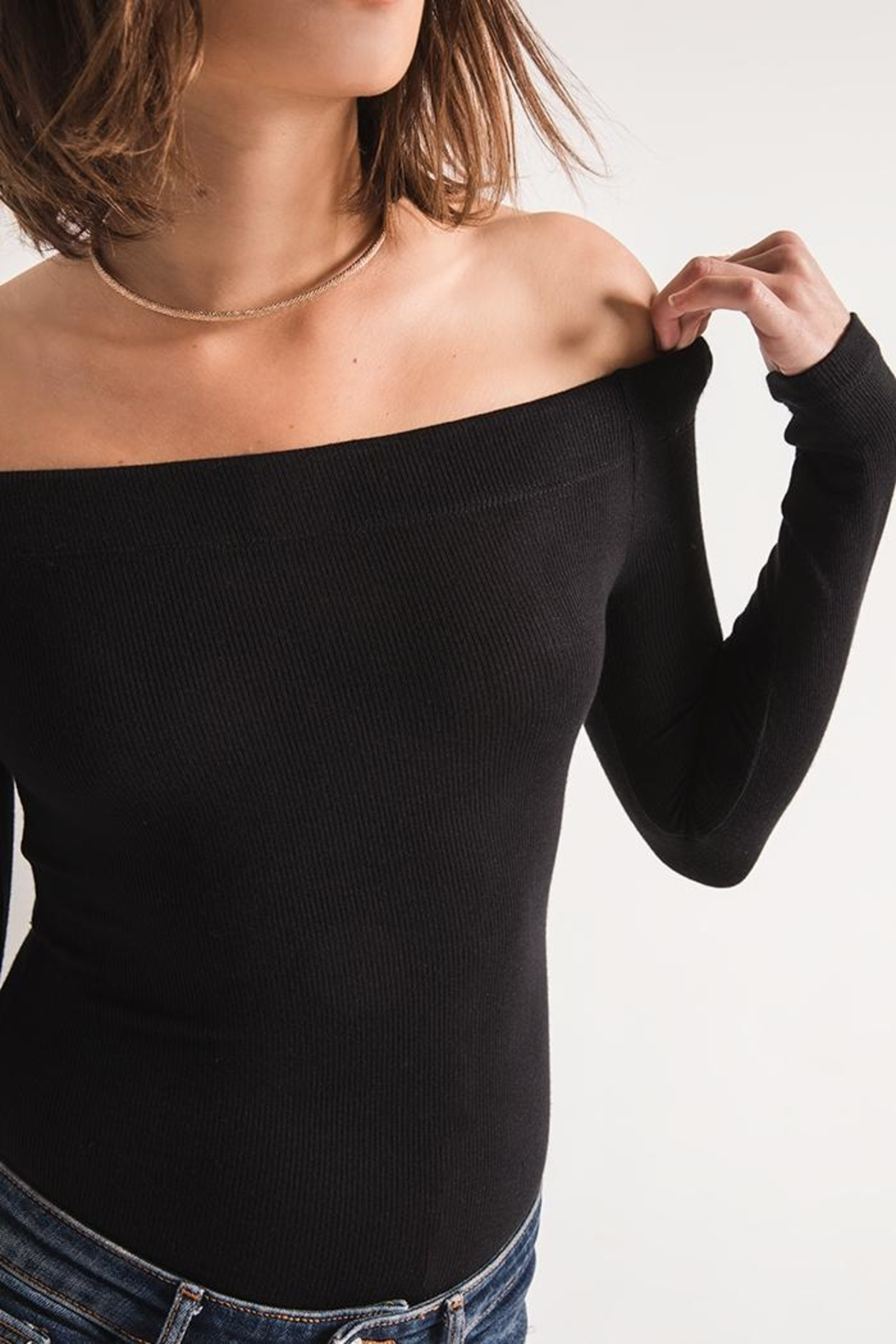 z supply Ribbed Off-The-Shoulder Top - Front Full Image