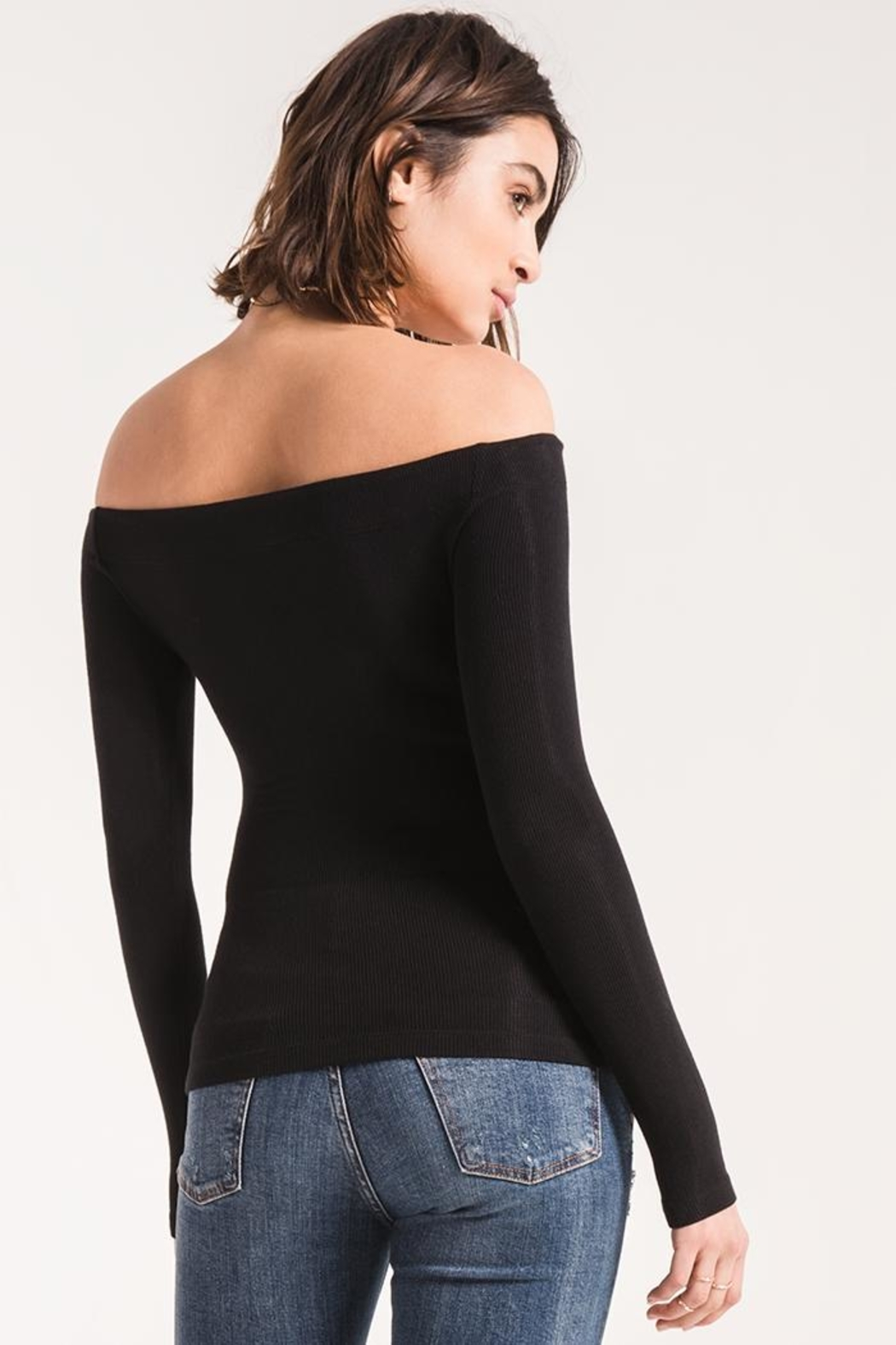 z supply Ribbed Off-The-Shoulder Top - Side Cropped Image