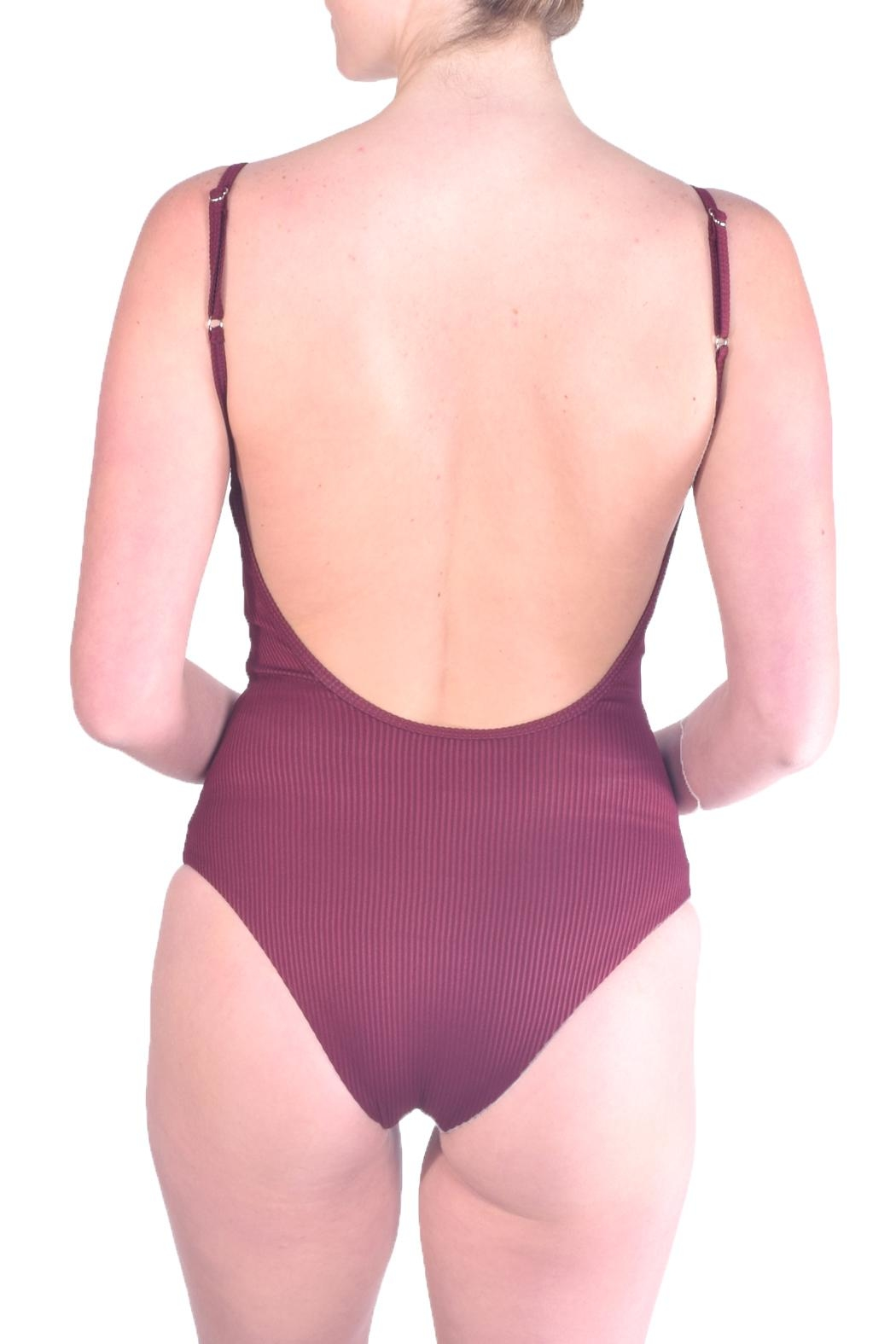 beach joy Ribbed One-Piece Swimsuit - Side Cropped Image