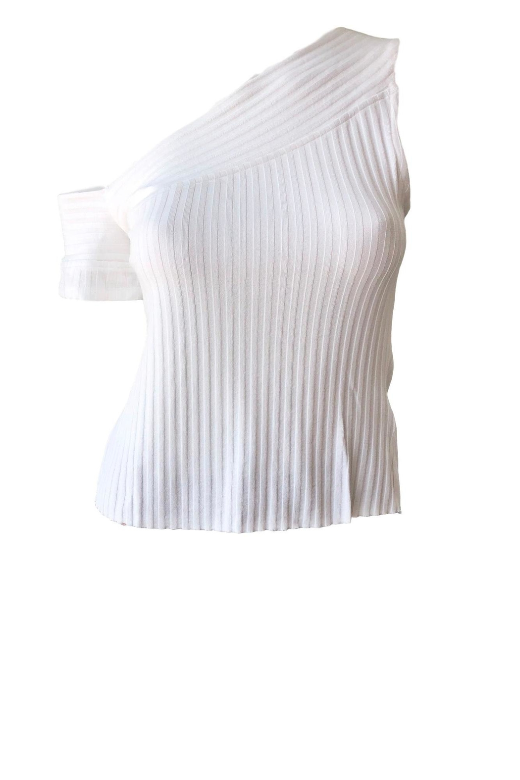 THE RANGE NYC Ribbed One-Sleeve Top - Front Cropped Image