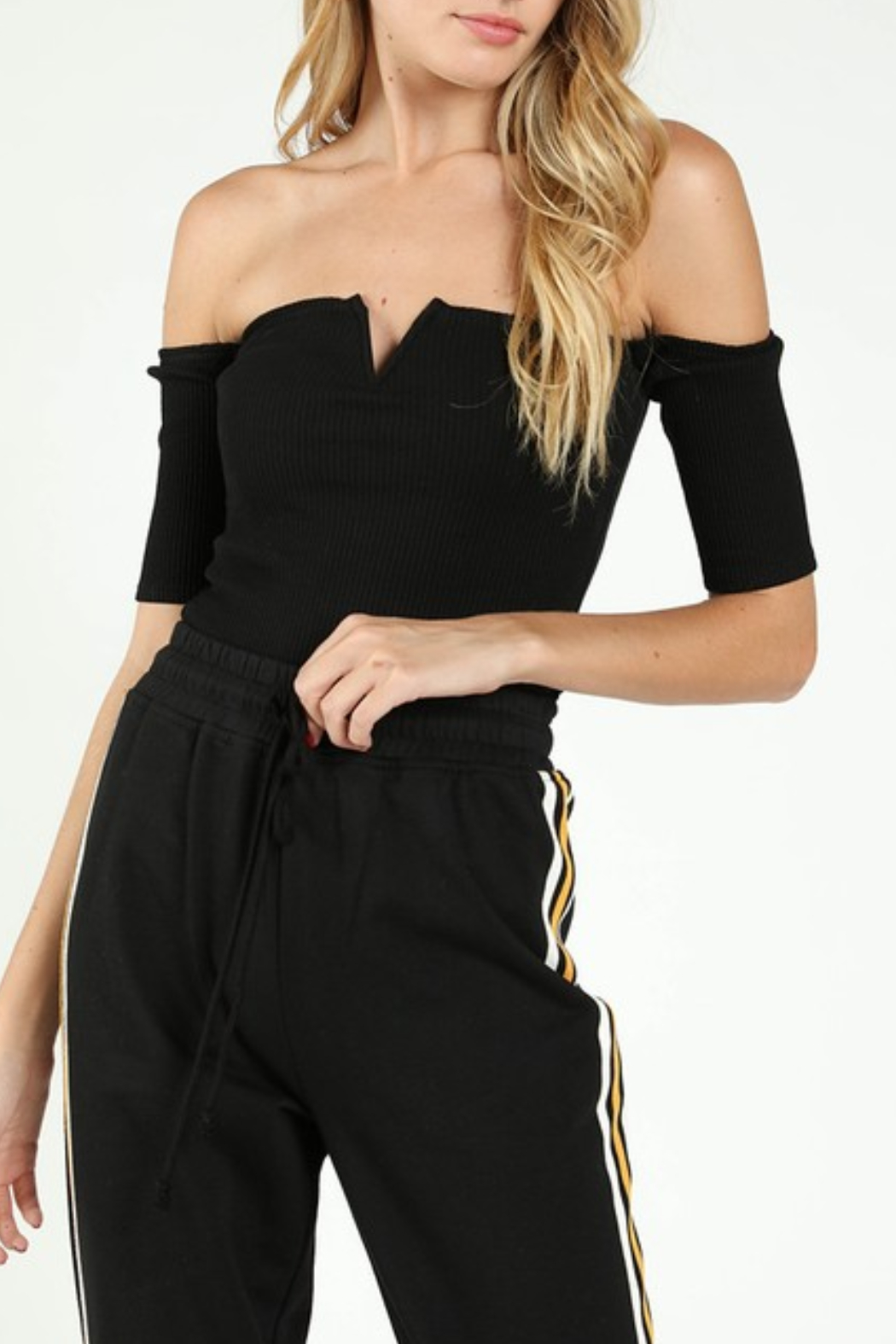 Wild Honey Ribbed OTS Crop Top - Front Cropped Image
