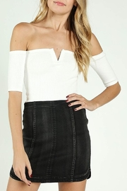 Wild Honey Ribbed OTS Crop Top - Front cropped