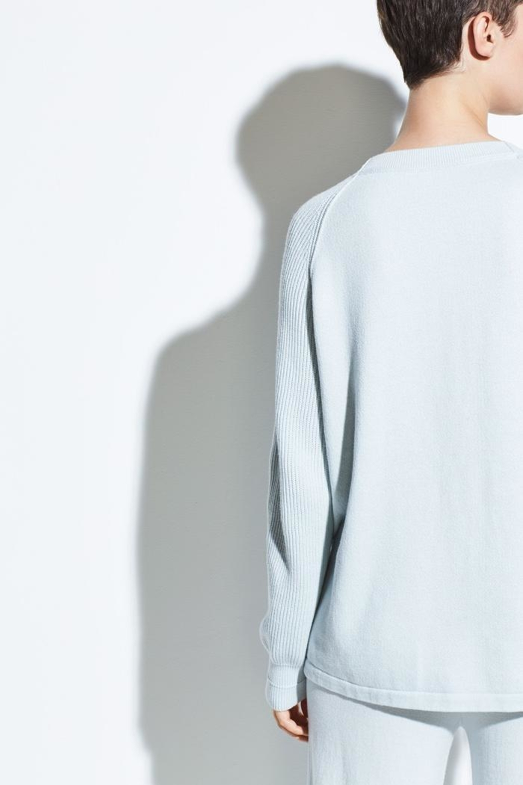 Vince Ribbed Raglan Crewneck - Back Cropped Image