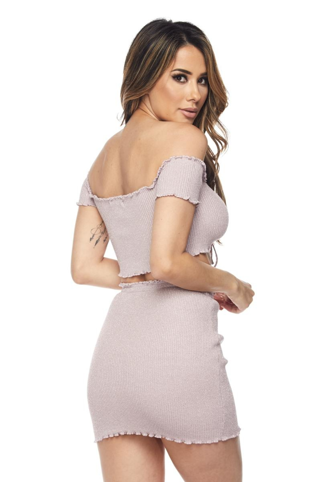 Hot & Delicious Ribbed Skirt Set - Side Cropped Image