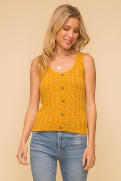 Hem & Thread RIBBED SLEEVELESS BUTTON DOWN SWEATER TOP - Product List Image