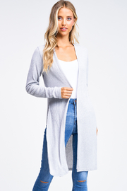 MONTREZ RIBBED SLIT CARDIGAN - Front cropped
