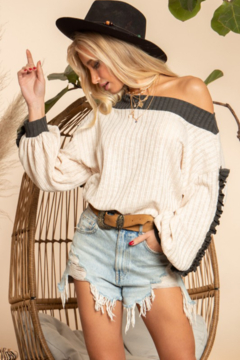 Blue Buttercup Ribbed Slouchy Top - Product List Image
