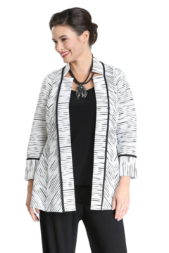 IC Collection RIBBED STRIPE OPEN-FRONT JACKET - 2360J - Alternate List Image