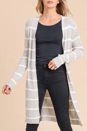 Wild Lilies Jewelry  Ribbed Striped Cardigan - Front cropped
