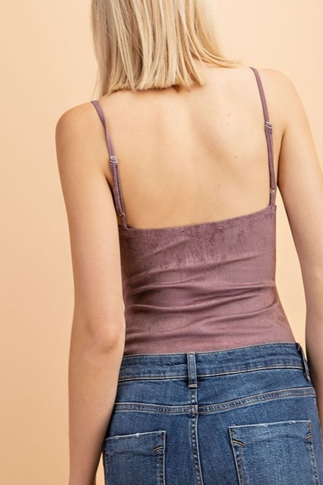 Le Lis Ribbed Suede Bodysuit - Front Full Image