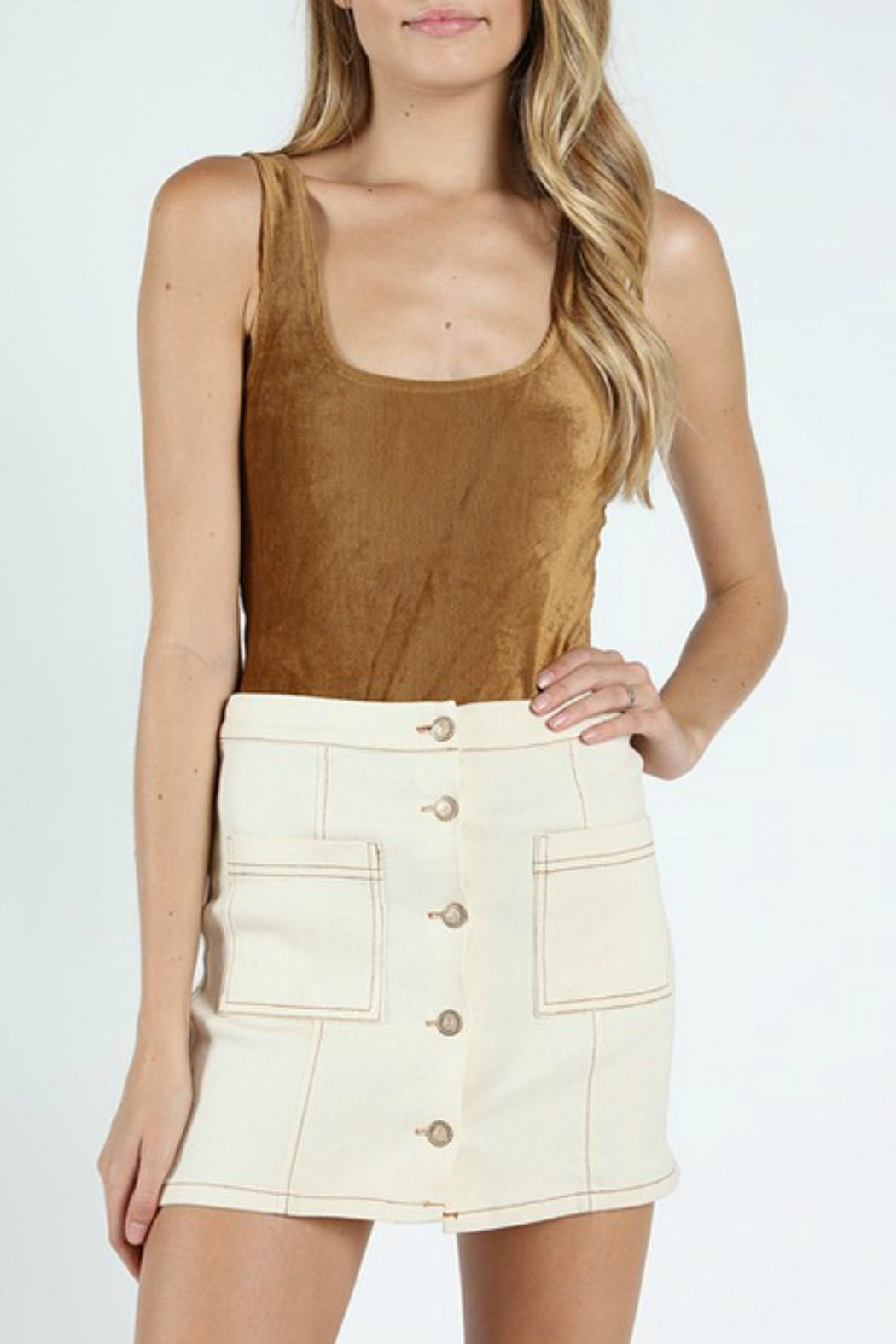 Wild Honey Ribbed Suede Bodysuit - Front Cropped Image