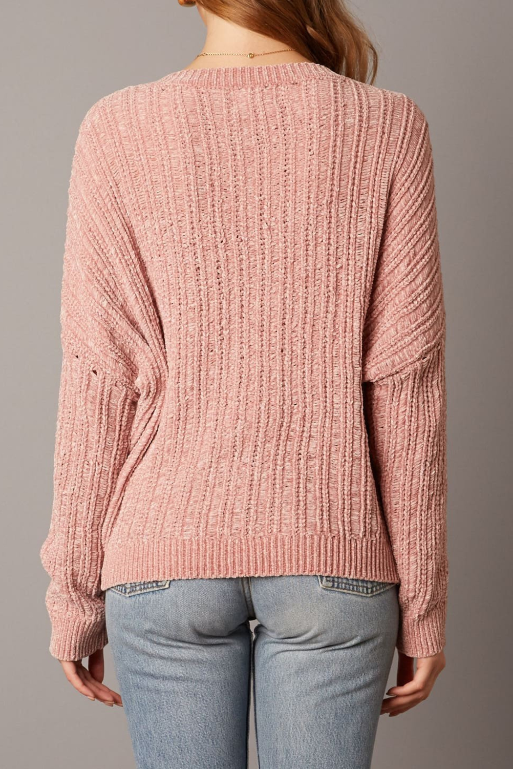 Cotton Candy LA Ribbed Sweater - Back Cropped Image