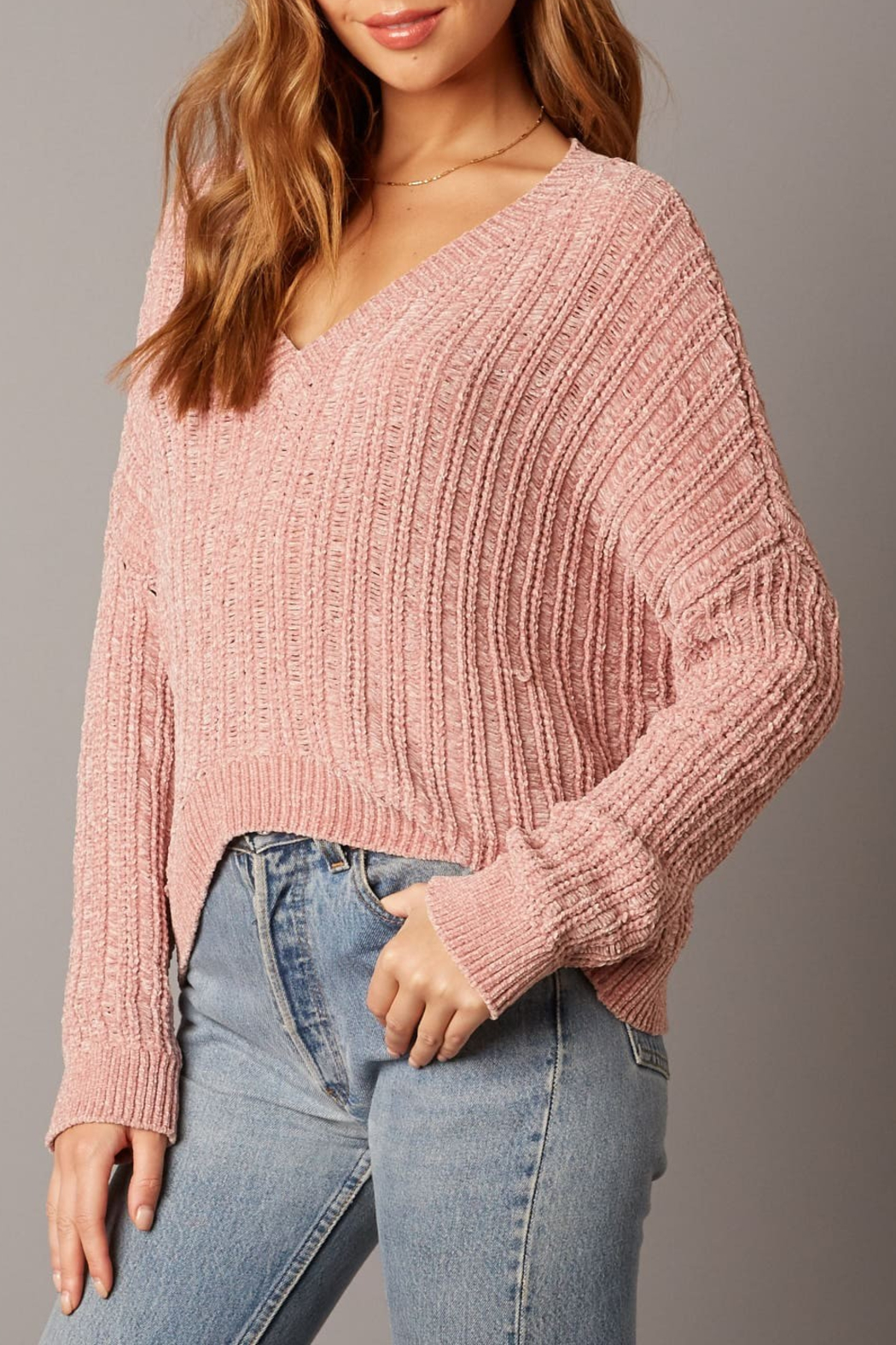 Cotton Candy LA Ribbed Sweater - Front Full Image