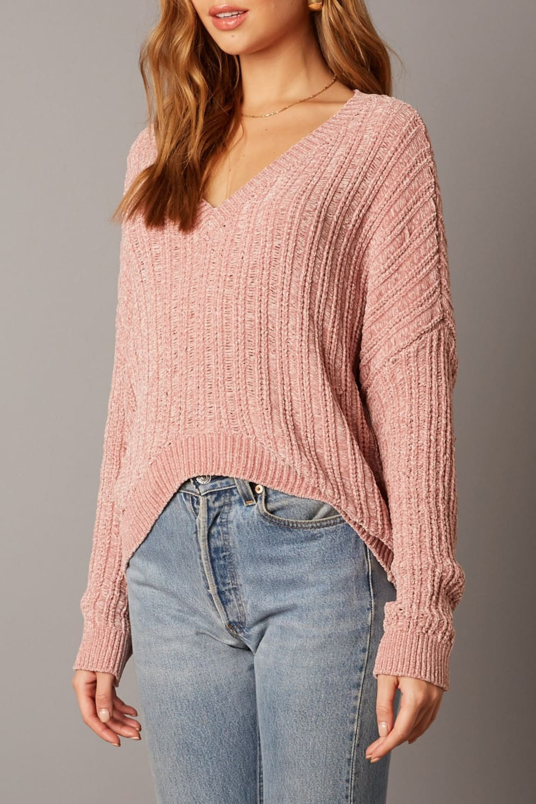 Cotton Candy LA Ribbed Sweater - Side Cropped Image