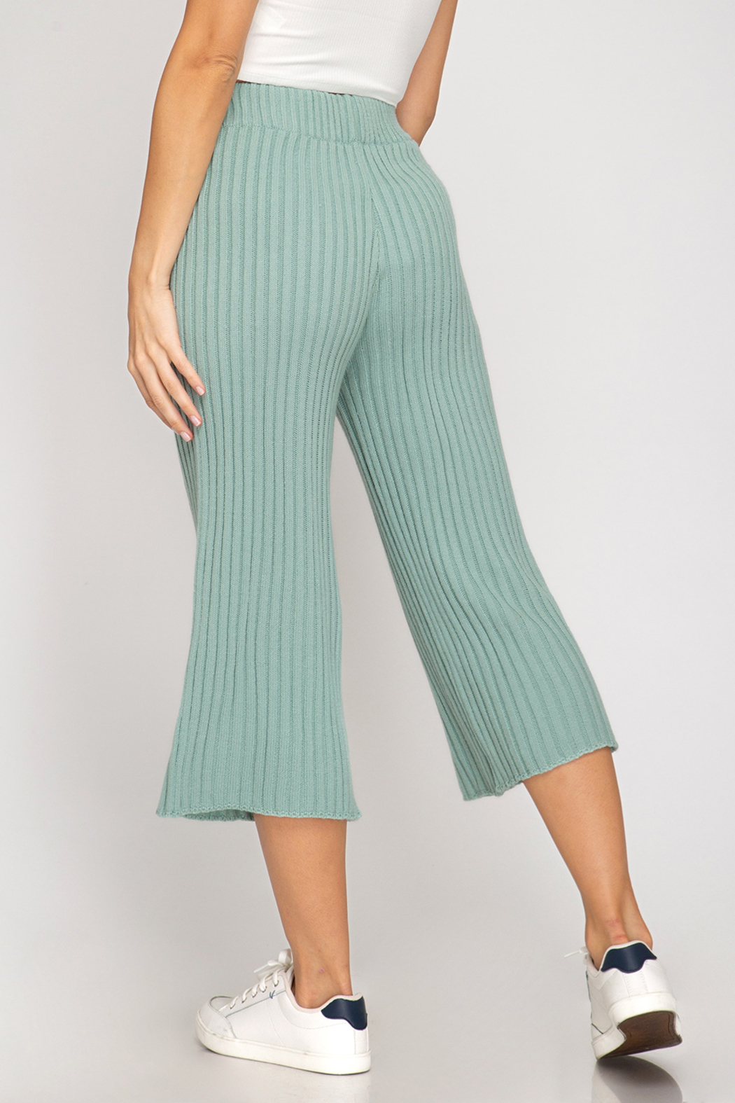 She and Sky Ribbed Sweater 7/8 Pants - Front Full Image