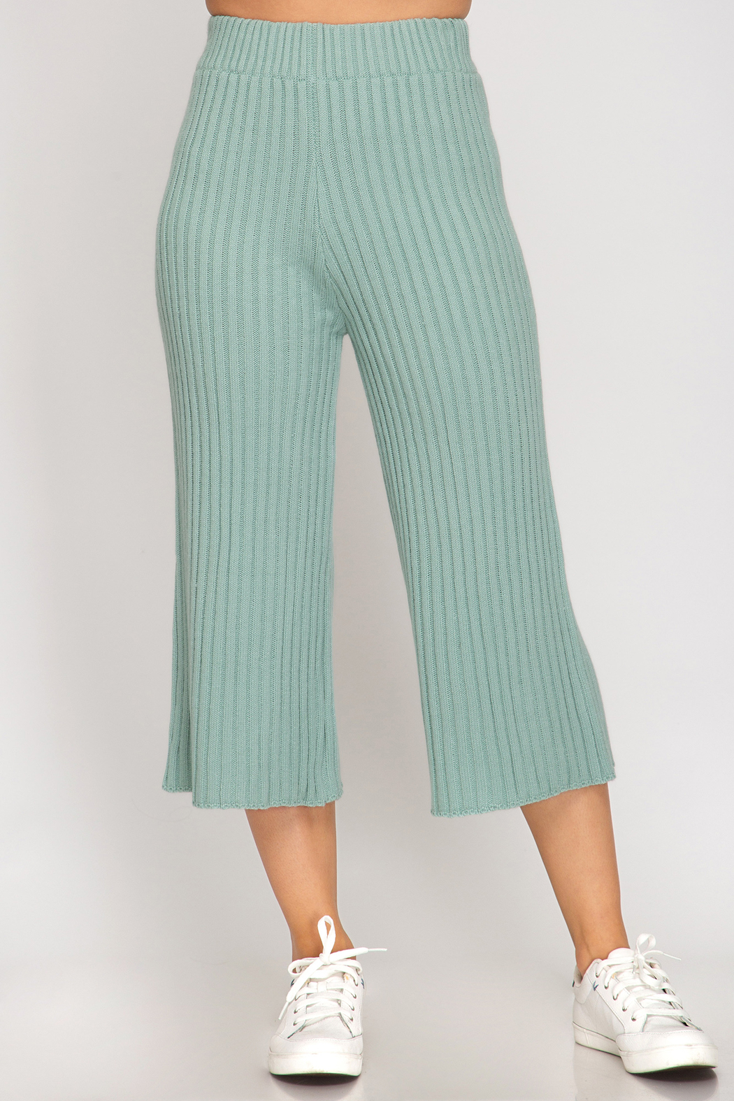 She and Sky Ribbed Sweater 7/8 Pants - Main Image